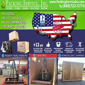 Crating Machinery and Shipping from MD to CA