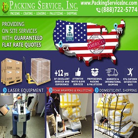 Wrap Laser Machine Palletize and Ship from NY to CA